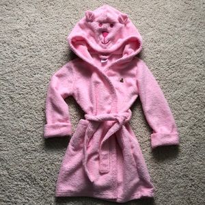 Gap pink bear hooded bath robe Sz 2T